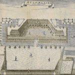 """Tegning af Stamhuset Ausumgård i Pontoppodans """"Danske Atlas"""" fra 1769. Gården er set fra nordvest. Foto: Ringkøbing-Skjern Museum."""