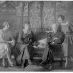 Den sidste Scheel på Gammel Estrup. Greve Christen Scheel, hans hustru, Emma Dahlholm og to af deres døtre i riddersalen på Gammel Estrup ca. 1920. Foto: Gammel Estrup Herregårdsmuseet.