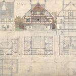 ) Tegninger til 'Kalø Jagthus' af Hack Kampmann omkring 1898. Huset var opført i bindingsværk og inspireret af nordiske og nationale motiver. Foto: Nationalpark Mols Bjerge.
