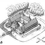 Brejninggårds hovedbygning, som den må have taget sig ud ved opførelsen omkring 1580. Tegning af Jørgen Pangel.
