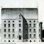 Gottleib Bruuns rekonstruktionstegning (1889) af det gamle Fussingø set fra vest. Den østlige facades to hjørnetårne er ikke synlige på denne tegning. Viborg Museum. Scan: Purhus Lokalarkiv.