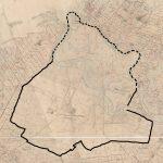 Udsnit af det såkaldte original1-kort for den nordlige del af Lønborg sogn 1818. Lønborggårds hovedgårdsjord, som den så ud efter Niels Jermins udskiftning 1792-93, tegnet op. Scan: Geadatastyrelsen og Styrelsen for Dataforsyning og effektivisering.