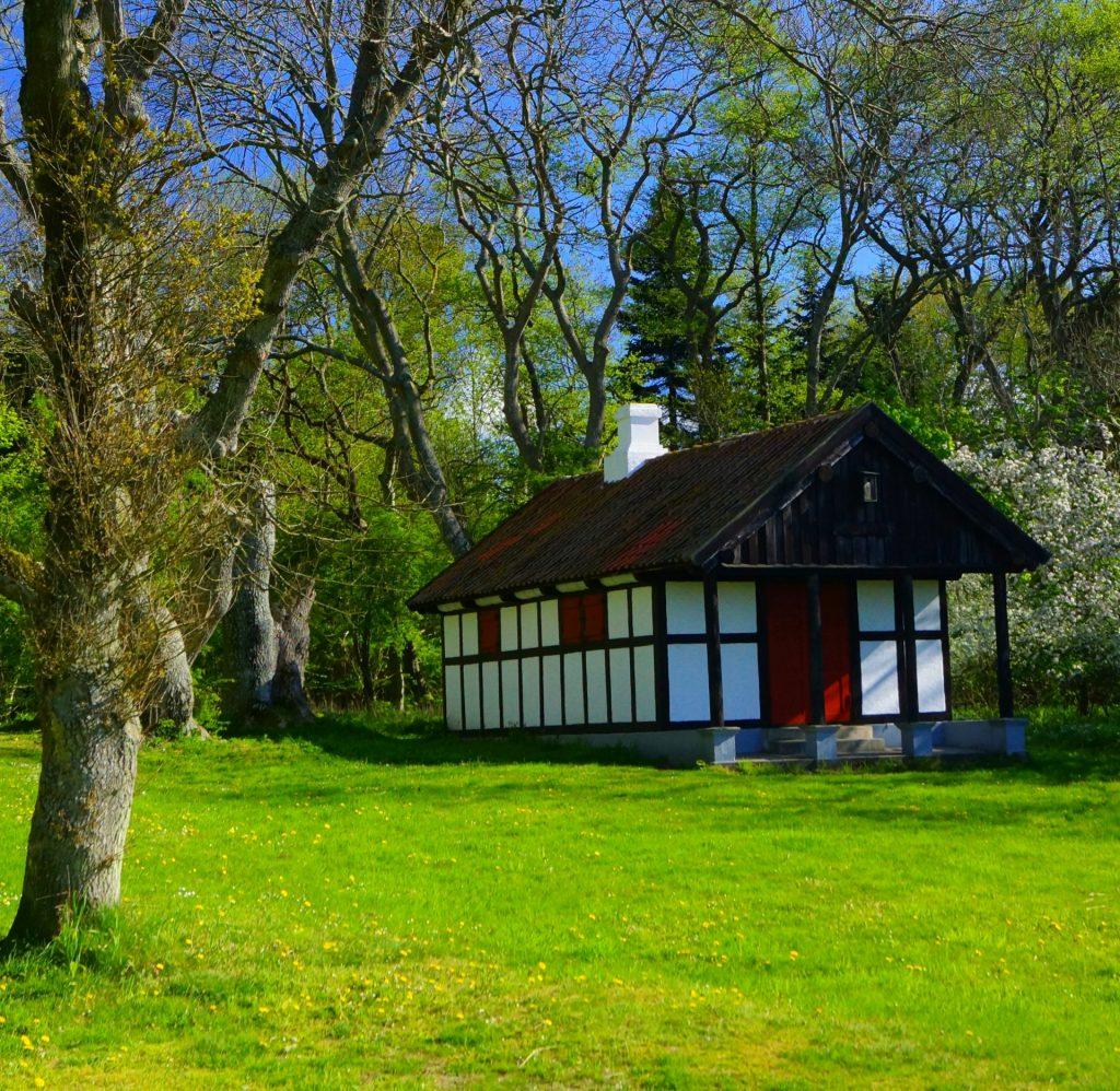 Thyrahytten ligger tilbagetrukket i udkanten af Hestehaveskoven ved Kalø og lige ned til Kalø Vig. Hytten er tegnet af Hack Kampmann og fik navn efter Thyra von Grothe, som i 1905 giftede sig med Martin Rücker von Jenisch. Foto: Old Dane / Wikimedia Commons