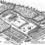 Hovedbygning og ladegård med haver, som anlægget kan have taget sig ud omkring 1750. Tegning af Jørgen Pangel.