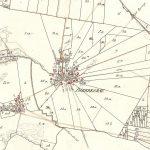 Udsnit af sognekortet over Bjerregrav Sogn fra 1835, hvor man tydeligt ser den karakteristiske stjerneform. Scan: Geodatastyrelsen