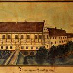Farvetegning af Brejninggårds hovedbygning. Signeret 5te Decbr 1845 J.G. Ringkøbing-Skjern Museum.