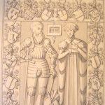 På denne tegning af Søren Abildgaard fra 1756-1778 ser vi gravstenen for bygherren til det første Fussingø, Albret Skeel, og dennes hustru, Kirsten Sandbjerg, som begge ligger begravet i Ålum kirke. Foto: gravstenogepitafier.dk.