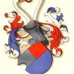 Skeel-slægtens våbenskjold er delt i tre felter med to felter i hvid og rød over et vandret felt i blåt. Hjelmprydelsen består af to knejsende svanehalse, der med næbbet griber om en ring. Figur: Danmarks Adels Aarbog og Dansk Adelsforening.