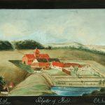 Denne guache af Amalie Schinkel fra 1790 viser både Hald IV og V. Her kan man tydeligt se, at de hvide pavilloner, som står i haven i dag ikke stammer fra Hald IV, som rygtet ellers vil vide. Foto: Viborg Museum.