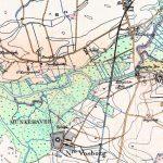 """Kort fra anden halvdel af 1800-tallet over det område, hvor både Nørre Vosborg og Skærum Mølle er beliggende. I fugleflugtslinje er der ca. 1,5 km mellem de to ejendomme. Da kortet blev lavet, var der stadig brændevinsbrænderi (""""Dampbrænderi"""") ved vandmøllen. Lidt vest for møllen lå Skærum Brogård ved overgangsstedet over Storåen. Her var der kro og indtil midten af 1800-tallet også poststed. Ved Skærum lå desuden Nørre Vosborgs store laksegård. © Geodatastyrelsen."""