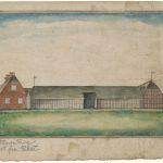 Peder Lauridsen Tang blev født i 1737 på den store, firelængede gård, Nørre Tang i Ulfborg. Gården var fæstegård under Nørre Vosborg. Som det ses på denne akvarel fra første halvdel af 1800-tallet, var stuehuset grundmuret, mens avlsbygningerne var af bindingsværk. Akvarel af ukendt kunstner på Ringkøbing Museum.