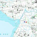Kort over det område ved Storåen, hvor både Nørre Vosborg, Sønder Vosborg og Skærum Mølle er beliggende. Den blå prik angiver stedet, hvor Niels Bugges borg fra 1341 blev fundet, mens den røde prik viser, hvor Gregers Holgersen Ulfstand efter delingen i 1551 byggede sin nye hovedgård, det første Sønder Vosborg. © Geodatastyrelsen.