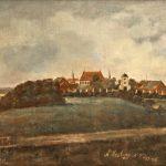 En sommerdag i 1848 malede Carl Saabye Nørre Vosborg set fra øst. Peder Tangs portbygning og lange, stråtækte avlslænger fra omkring 1788 byder den besøgende velkommen. Bag avlsgården ses den firlængede hovedbygning med de røde tage. Billedet er malet før de nygotiske byggerier, som etatsråd Tang fik foretaget få år senere. Maleri på Holstebro Museum.