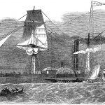 """Den visionære godsejer Tang var overbevist om, at fremtiden for den vestjyske studeeksport lå på det engelske marked, og han arbejdede i flere år på at få etableret en dampskibsrute, så studene kunne blive sejlet til England. Regeringen gik endelig med på idéen, og i 1851 blev hjuldamperen """"Jylland"""" (billedet) indkøbt til formålet. De følgende år transporterede skibet tusindvis af vestjyske stude fra den vestlige Limfjord til Thameshaven nær London. Projektet var imidlertid ikke rentabelt, så efter fire år besluttede regeringen at indstille sejladsen. Tang fortsatte dog med at eksportere stude til England med andre skibe, der udgik fra Hjerting. Litografi fra 1851 i Gleeson's Pictorial Drawing Room Companion."""