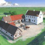 Nørre Vosborg, som den formentlig så ud i midten af 1600-tallet, hvor nordfløjen af bindingsværk og porten gennem østfløjen var kommet til. Traditionen vil vide, at Ide Lange både stod bag opførelsen af en ny ladegård i bindingsværk og af borggårdens nordlænge. En årringsdatering af et stykke bindingsværk fra nordlængen til 1655 antyder dog, at nordlængen måske først er opført i hendes svigersøn Ove Bielkes ejertid. Tegning: Erik Sørensen.