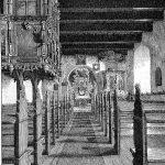 Herskabet på Kabbel havde deres plads hævet over de øvrige kirkegængere. De havde også egen indgang ad en udvendig trappe direkte til herskabsstolen. Sådan tog det sig ud i kirkerummet i 1902. Trap Ringkøbing Amt, 1902.