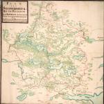 På dette kort over Skanderborg Rytterdistrikt fra ___ ser man tydeligt de omfattende skovområder omkring Silkeborg. Kort: historiskatlas.dk