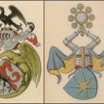 Våbenskjolde for slægterne Brock, Bryske, Gyldenstierne og Ulfstand. Gennem 1500-tallet var Gammel Estrup delt mellem ejere fra disse fire slægter. Foto: Danmarks Adels Årbog og Dansk Adelsforening.