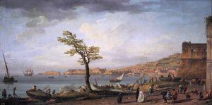 Historien om Jørgen Scheels store forbrug indeholder også historien om den store Europa-rejse. I foråret 1796 ankom han til Napoli, som i slutningen af 1700-tallet var hovedstad i det store syditalienske dobbeltmonarki og vidt berømt for sin skønhed.Opdagelsen af Pompeji og Herculanum i årtierne forinden Jørgen Scheels rejse havde føjet nye attraktioner til den allerede dragende by. Jørgen Scheel opholdt sig i Napoli i mere end tre år, hvor han kastede sig ud i byens berømte såvel som berygtede selskabsliv. Napolibugten, Claude-Joseph Vernet: Vue du golfe de Naples, 1748. Wikimedia Commons
